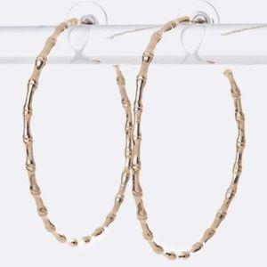 Stella Gold Hoop Bamboo Textured Earrings NWT